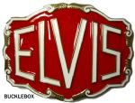 Elvis Large Red Belt Buckle + display stand. Code XL6